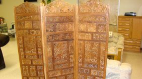 Higly Carved Asian 4 Panel Screen