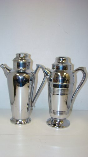 2 Deco Chrome Cocktail Shakers