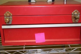 Red Metal Tool Box-a Few Tools