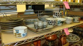 Shelf Various Asian Style Dishes