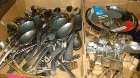 Box Of Flatware & Box Cookie Cutters