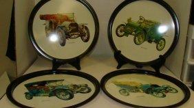 4 Vintage 11'' Round Tin Car Trays