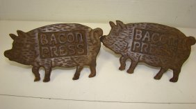 Pair Of Cast Metal Pig Shaped Bacon Presses