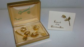 Giovanni By Longcraft Rose Brooch & Earring Set