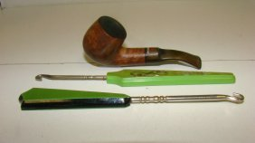 Plum Dinky Pipe & 2 Celluloid Button Hooks