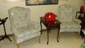 Pair Of Pastel Upholstered Wing Back Chairs