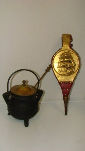 Vintage Small Cast Iron Coal Bucket Etc