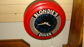 Blondies Diner Retro Wall Clock