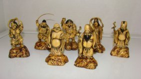 7 Small Carved Resin Asian Figures