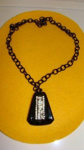 Black Bakelite, Rhinestone & Celluloid Necklace