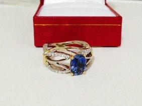 14k Yellow & White Gold With Tanzanite & White Diamond