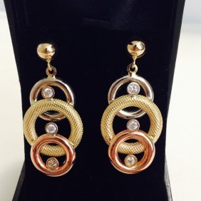 18k Gold Tri Color Diamond Earring