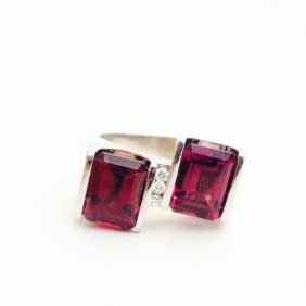 14k White Gold Diamond And Natural Rubellite