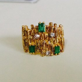 Vintage 18k Gold Natural Emerald And Diamond Ring
