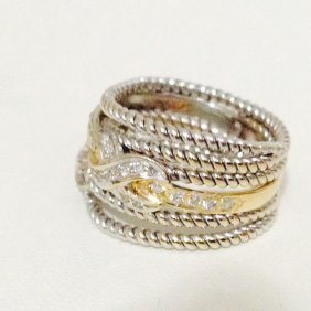 18k Gold Two Tone Diamond Ring Yellow Gold & White Gold