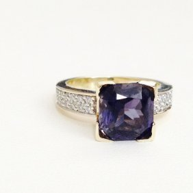 14k Blue Sapphire And Round Brilliant Cut Diamond Ring