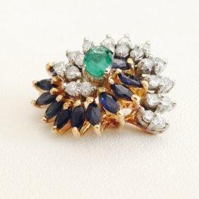 18k Yellow Gold Diamond Emerald Sapphire Pendant