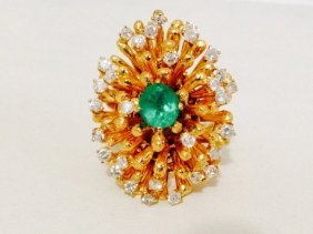 18k Gold Natural Colombian Emerald & Diamond
