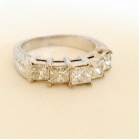 14k Gold Princess Cut Diamond Band