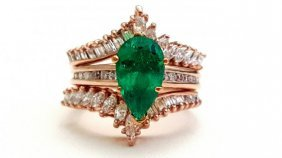 14k High Quality Rose Gold Diamond And Emerald Ring