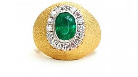 18k Yellow Gold Vintage Emerald And Daimond Ring