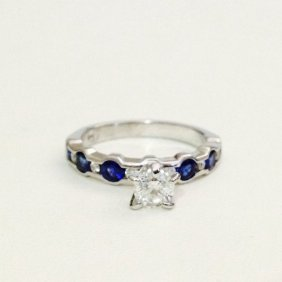 14k White Blue Sapphire And Diamond Engagement Ring