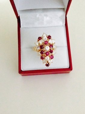 14k Gold Diamond And Burma Ruby Ring