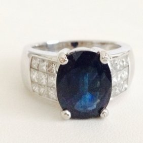 18k White Gold Diamond And Sapphire **certified**
