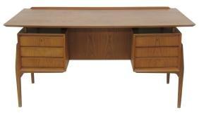 Arne Vodder Style Danish Modern Floating Top Desk