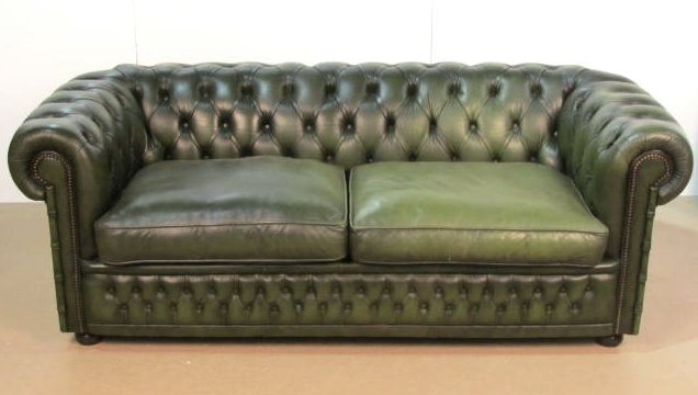 Green English Tufted Leather Chesterfield Sofa Lot 72