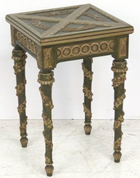 ANTIQUE ITALIAN CARVED NAPKIN GAME TABLE