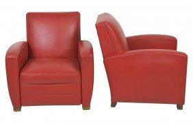 Pair Art Deco Red Naugahyde Club Chairs