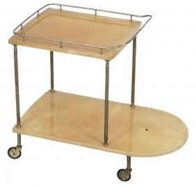 Aldo Tura Brass & Goat Skin Bar Cart