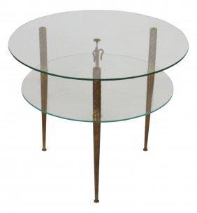 Italian Modern 2 Tiered Glasstop Table