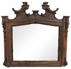 Continental Figural Carved Walnut Mirror