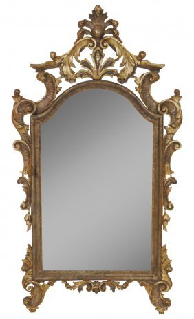 "Antique Italian Gilt Carved 61""x 34"" Mirror"