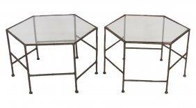 Pair Iron Faux Bamboo Hexagonal Tables