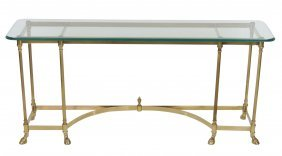 Contemporary Brass & Glass Sofa Table