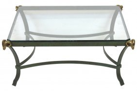 Contemporary Neoclassical Style Glasstop Coffee Table