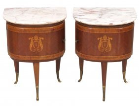 Pair Italian Inlaid Demilune Marbletop Stands