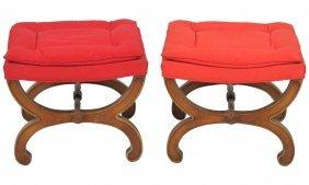 Pair Italian Style Cerule Stools