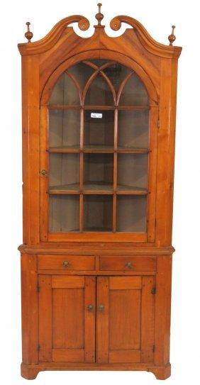 Primitive Pine Corner Cabinet