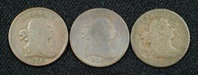Three Half Cents: 1800 (AG), 1803 (VG) And 1805 Ste