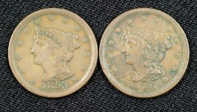 1853 + 1857 Half Cents Both VF