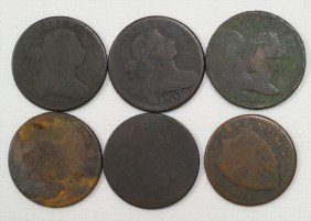 6 Various Early Large Cents Mostly AG Unchecked For