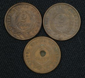 3 Different Date 2 Cent Pieces 1864 (F), 1865 (f) A