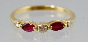 18K YG Ring With 3 Small Diamonds And 2 Garnets (?)