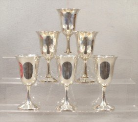 6 Wallace Sterling Silver Wine Goblets, No Monogram