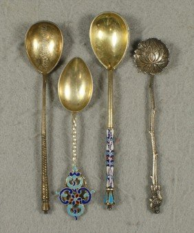 Enameled Imperial Russian Silver Spoon, Engraved R