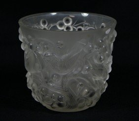 Lalique Avalon Frosted Clear Glass Vase, Shallow 1